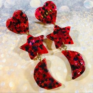 Vintage 80's star glitter resin 3 drop earrings.